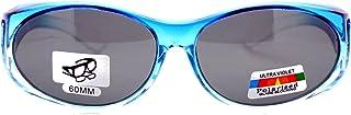 ユニセックスフィットover glasses偏光サングラスオーバルフレームOmbreカラーブラックレンズ