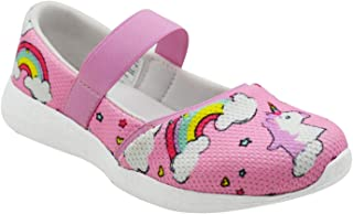 KazarMax Girls Air Cooled Memory Foam Latest Collection,Comfortable Ballet Flat's Unicorn Rainbow Ballerinas/Bellies (Made in India)