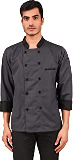 Kodenipr Club Men's and Women's Grey Chef Coat Black Contrast (Large(40))