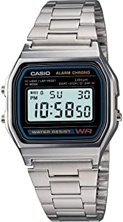 Casio A158WA-1 Silver Classic Retro Unisex Stainless Steel Digital Watch