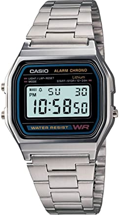 Casio A158WA-1 Silver Classic Retro Unisex Stainless Steel Digital Watch