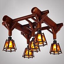 Ceiling Lamps, Retro Bamboo Light, Glass Shade, LED Lights, Lighting Brightness, For Aisle / Restaurant / Living Room, E27...