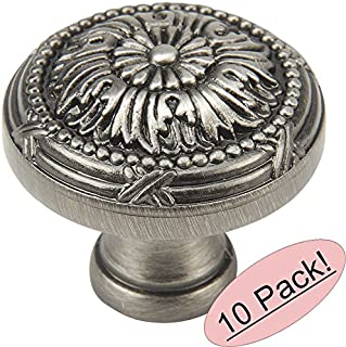10 Pack - Cosmas 9460AS Antique Silver Cabinet Hardware Round Knob - 1-1/4
