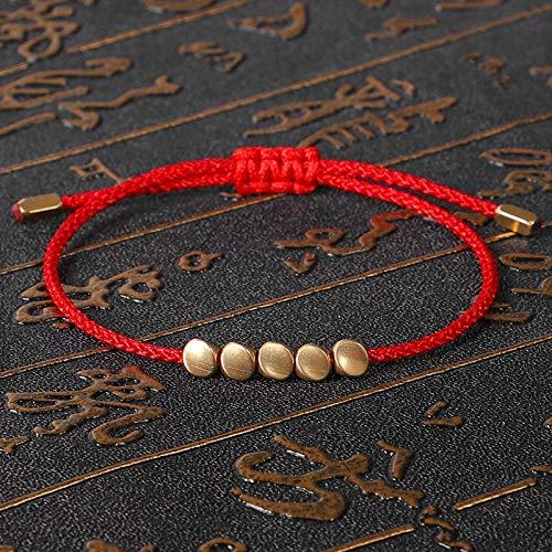 JINKEBIN Pulsera Pulsera de Cuentas de Cobre Tibetano Hecho a Mano Budista Braded Braded Lucky Ajustable Cadena de Cuerda Metal para Mujeres Hombres Pareja Joyería (Metal Color : Red 2)