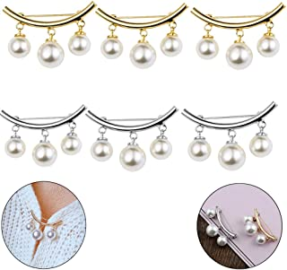 LWestine 6Pcs Pearl Brooch Pins Safety Brooch Fixed Strap Charm Pin Brooch for Sweater Cardigan Clip Scarf Hat Bag Ornaments Christmas Pin Jewelry Gift