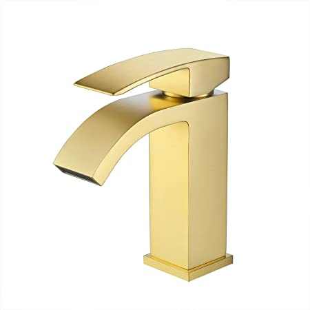 Kes Brushed Brass Bathroom Waterfall Faucet Single Handle One Hole Vanity Sink Faucet Cupc Nsf Certified Brass Construction L3109alf Bz