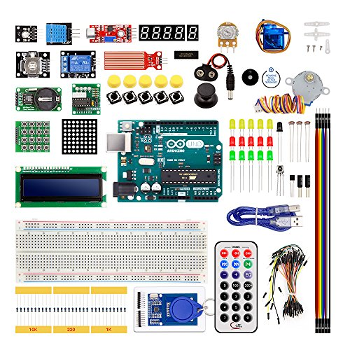 Diybigworld The Best Electronic Kit For Children Made in Italy Arduino Uno R3 Starter Kit Upgraded Version with 1602 LCD Server Motor LED