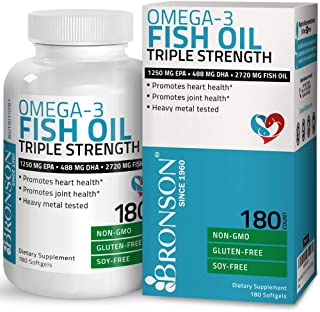 Omega 3 Fish Oil Triple Strength 2720 mg - High EPA 1250 mg DHA 488 mg - Heavy Metal Tested - Non GMO Gluten Free Soy Free - 180 Softgels