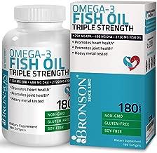 Omega 3 Fish Oil Triple Strength 2720 mg - High EPA 1250 mg DHA 488 mg - Heavy Metal Tested - Non GMO Gluten Free Soy Free - 180 Softgels