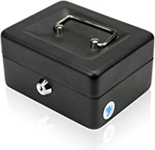 "H&S 6"" Petty Cash Tin Steel Money Safe Box with Lock 2 Keys - Black"