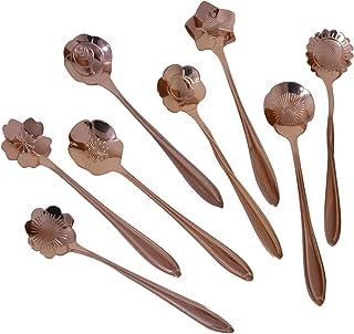CHICHIC Set of 8 Flower Coffee Spoon Tea Spoon Dessert Spoons Scoop Stainless Steel Tableware Stirring/Sugar/Stir/Bar/Mixi...
