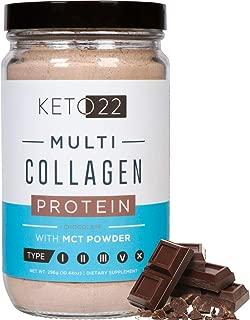 Keto 22 Chocolate Keto Protein Powder - High Quality Multi Collagen Keto Powder with MCT Oil Powder - Keto Collagen Protein Powder - Keto Chocolate Shake - Paleo & Gluten Free - Glass Bottle