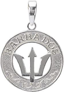 925 Sterling Silver Travel Charm Pendant, Barbados, Trident Spear Center