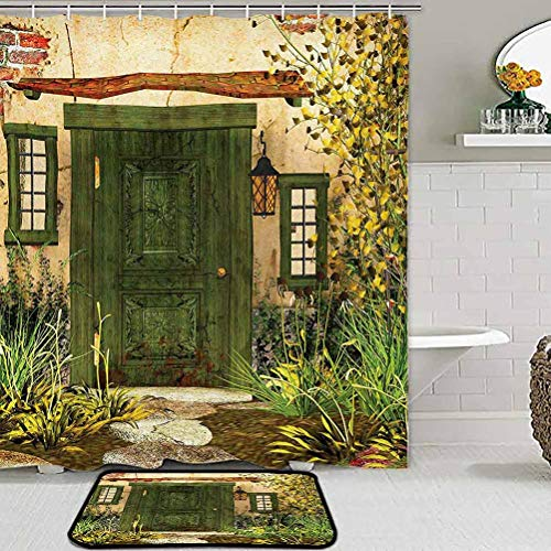ParadiseDecor Living Room Rug Kitchen Rugs Rustic,Cottage Door Overgrown Bushes Grass Tree Garden Brick Fairy Tale Countryside,Green Ivory Yellow Desk Chair mat for Carpet