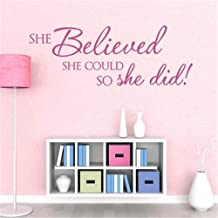 Wall Sticker Removable Home Decor Wall Vinyl Decals She Believed She Could so she did