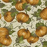 Longaberger 7' Bowl Basket Pumpkin Patch Fabric Over the Edge Style Liner
