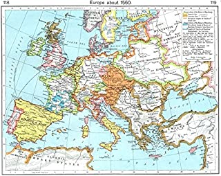 EUROPE. Europe about 1560 - 1956 - old map - antique map - vintage map - Europe maps