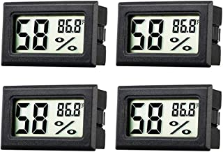JEDEW 4-Pack Hygrometer Gauge Indoor Thermometer,Mini Digital LCD Monitor Temperature Outdoor Humidity Meter for Humidors Greenhouse Basement Cellar Closet, Measure in Fahrenheit (℉)