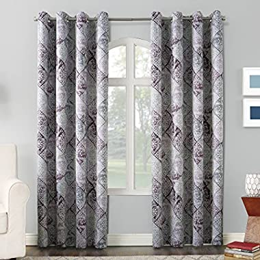 Sun Zero Reardon Distressed Global Tile Print Grommet Curtain Panel,Thistle Purple,54  x 84