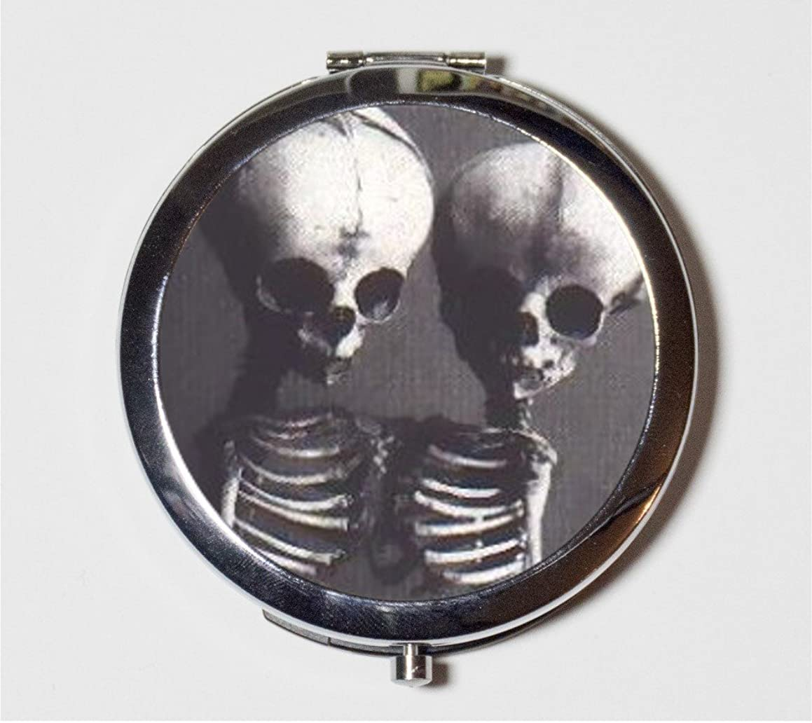Siamese Twins Skeleton Compact Mirror Medical Oddity Conjoined Victorian Macabre Make Up Pocket Mirror for Cosmetics