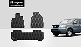 ToughPRO Floor Mats Set (Front Row + 2nd Row) Compatible with Honda Pilot - All Weather - Heavy Duty - (Made in USA) - Black Rubber - 2003, 2004, 2005, 2006, 2007, 2008