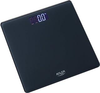 Adler AD8157 Báscula de Baño Digital, Pantalla LCD, 150Kg, Cristal Templado, Negro, 150 Kg