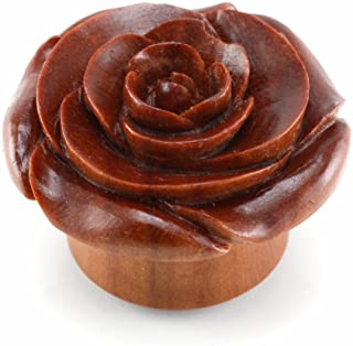 PAIR of Rose Wood Plugs with Rose of Sharon Top Plugs Earlets Gauges Body Jewelry