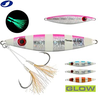 OCEAN CAT 1 PC Slow Fall Pitch Fishing Luers Sinking Lead Metal Jigs Jigging Bait with Hook for Saltwater Fishing 10-16cm 60G//80G150//200G//250G