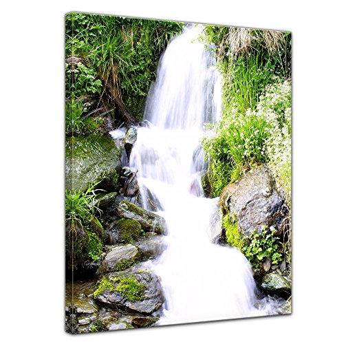 Bilderdepot24 Bild auf Leinwand | Kleiner Wasserfall in 50x70 cm als Wandbild | Wand-deko Dekoration Wohnung modern Bilder | 16060