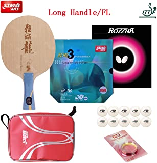 DHS Hand-Assembled Professional Table Tennis Rackets, Hurricane Long 5 Blade, Neo Blue-Sponge Hurricane 3 (Provincial) and Butterfly Rozena Ping Pong Rubber - ITTF Approved Tournament Racquets