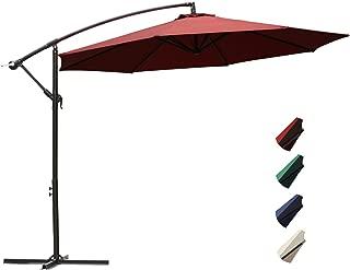 RUBEDER Offset Umbrella - 10Ft Cantilever Patio Hanging Umbrella,Outdoor Market Umbrellas with Crank Lift & Cross Base (10 Ft, Red)