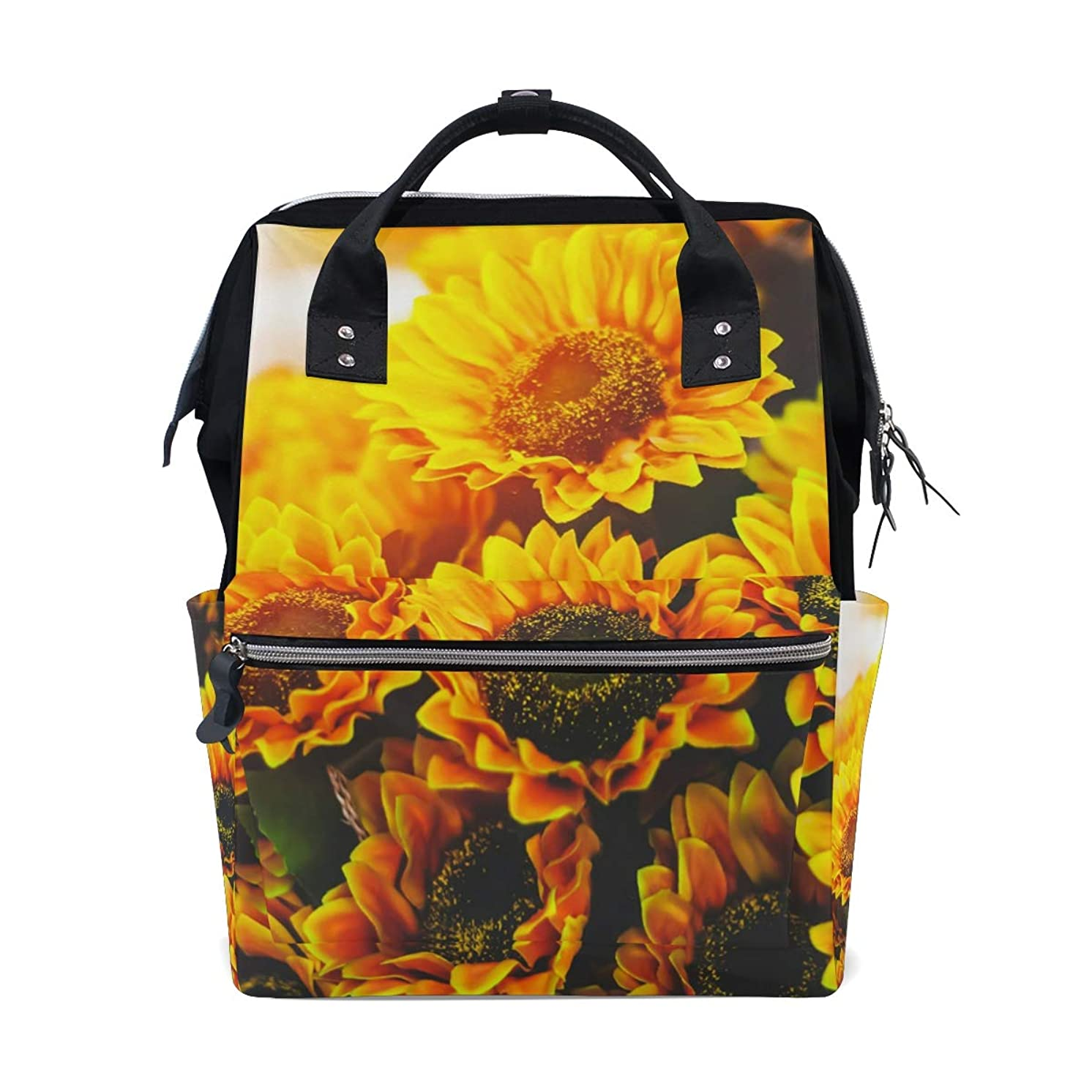 Vintage Floral Sunflowers Sunset School Backpack Large Capacity Mummy Bags Laptop Handbag Casual Travel Rucksack Satchel For Women Men Adult Teen Children