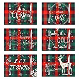 Searching Roads Christmas Buffalo Plaid Placemats, Red and Green Check, Waterproof Cotton & Burlap -Christmas Tree Snowflake Bell Placemats for Dining Table