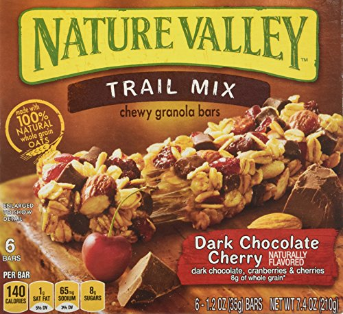 Nature Valley Chewy Trail Mix, Dark Chocolate Cherry Granola Bars 7.4 Oz (Pack of 4)