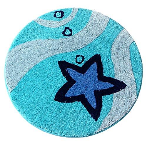 CKH Runde Teppiche Korb Matten Schlafzimmer Computer Sitzkissen Anti-Rutsch-Matten Osmanen Swivel Matten Runde Teppiche Blau (Size : Diameter90)