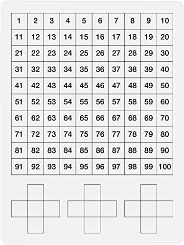 new arrival Dry online sale wholesale Erase Board Hundred Chart, Student Practice for School or Homeschool, Pre-Filled Numbers 1-100 and 10 More 10 Less Diagrams sale