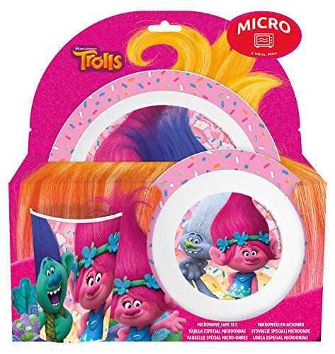 Joy Toy - Juego de platos y cubiertos «Trolls», multicolor, 3piezas