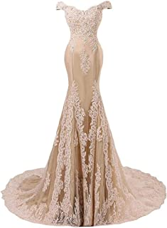 Off Shoulder Lace Appliques Mermaid Prom Dress Long Formal Evening Ball Gowns
