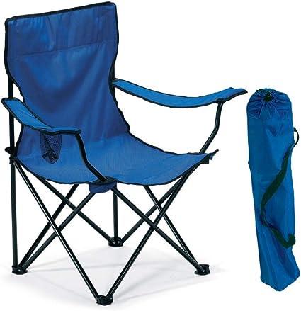 Publiclick Silla Plegable Camping Cuerpo de Metal Tubular. En Resistente poliéster 600D Disponibles en Azul y Negro (Azul)