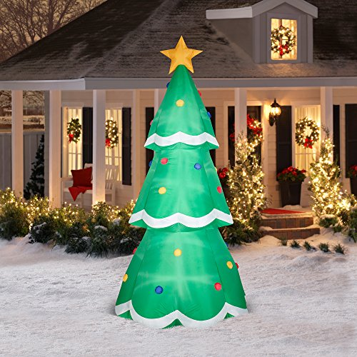 Gemmy Airblown Christmas Inflatables 10' Giant Tree Prop, Green