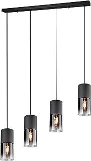 Trio Leuchten Lampa wisząca Robin 310600432, metal czarny matowy, szkło przydymione, bez 4 x E27