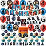 Godzilla Birthday Party Supplies King Kong Party Supplies Set Includes Happy Birthday Banner, Cake Topper, Cupcake Toppers, Cartoons Stickers, Godzilla Balloons, Party Supplies Kids Birthday