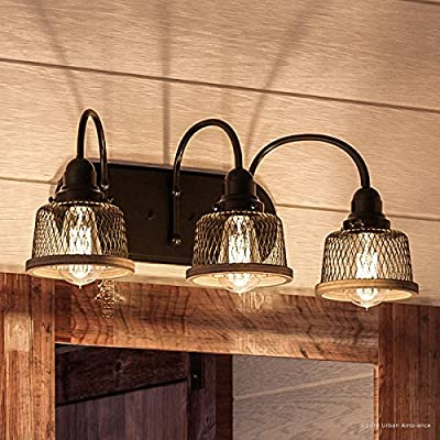 """Luxury Vintage Bathroom Vanity Light, Medium Size: 8.375""""H x 23.375""""W, with Industrial Chic Style Elements, Olde Bronze Finish, UHP2723 from The Eugene Collection by Urban Ambiance"""