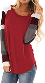 Women's Long Sleeve Cotton Knitted Patchwork Casual Tunic Sweatshirt Tops