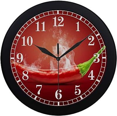 Funny Food Hot Chili Pepper in Smoke Modern Wall Clock
