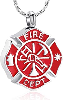 Imrsanl Cremation Jewelry for Ashes Firefighter Urn Necklace for Women Men Keepsake Army/Navy/USAF/USMC Pendant for Ashes ...