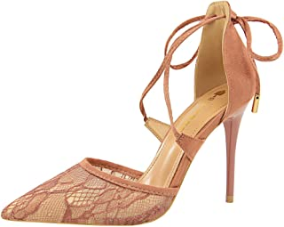 iMaySon Western Style Fashion Sexy Fine and high-Heeled Shallow Mouth Pointed Mesh Lace Cross Belt Hollow Sandals