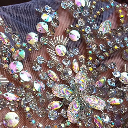 Unique Pure Handmade Beaded Sew on Rhinestones Sequins Beads Applique Crystals Patches 15.3x11.4″ Sewing Crastal for Wedding Evening Dress Accessory (AB Color)