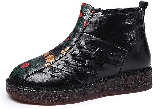 ZHRUI Stiefel de Punto para damen schuhe de Cuero con Estampado Floral Vintage (Farbe   schwarz, tamaño   EU 40)