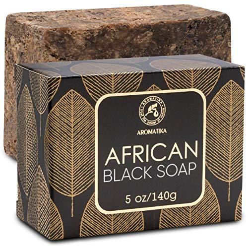 Afrikanische Schwarze Seife 140g - Feuchtigkeitsspendend - Pflegend - 100% Natürliche Schwarze Seife mit Sheabutter & Kokosöl - für alle Hauttypen - Körperpflege Geheimnis